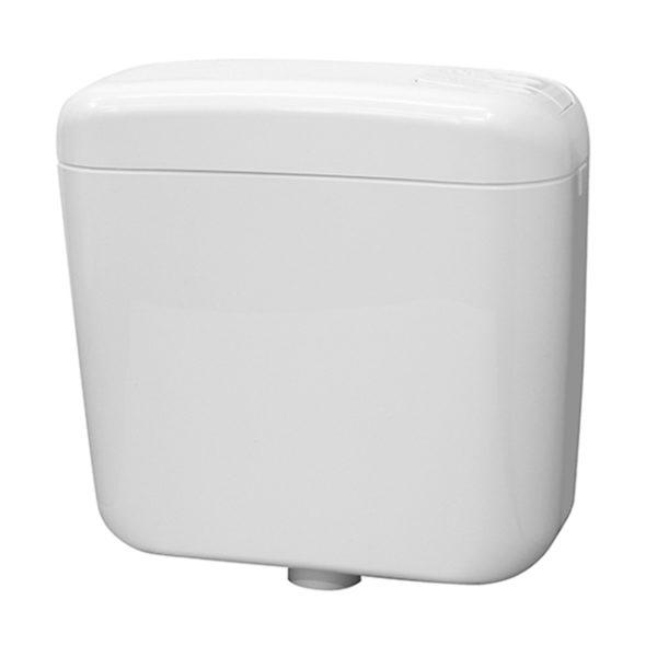 Stand-WC Geberit Modell Delta, AP-Spülkasten Zweimengentechnik + WC-Sitz