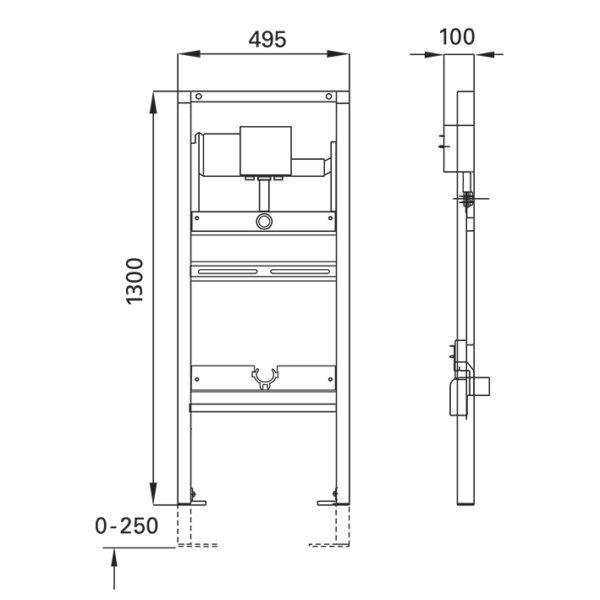 SANwand Urinal-Element Universal mit Geberit Rohbauset Basic für den Trockenbau