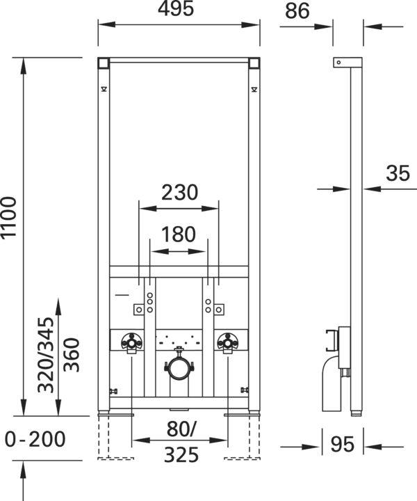 SANwand Bidet-Element für Wandbidets für den Trockenbau