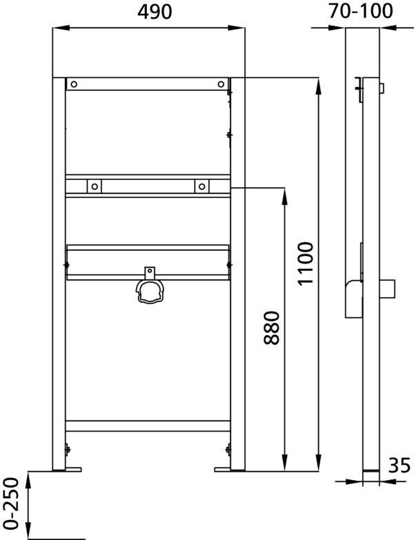 SANwand Waschtisch-Element für Standarmatur für den Trockenbau