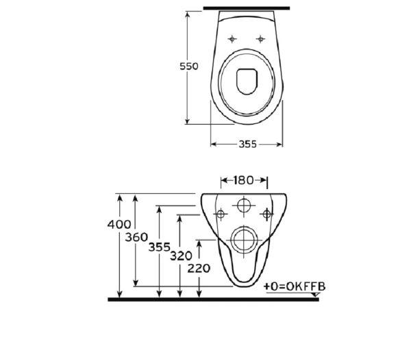 Wand-WC und Sitz mit Absenkautomatik