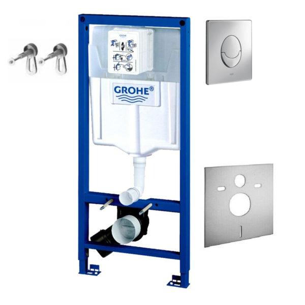 Grohe Rapid SL Vorwandelement 4 in 1 Set (38722001) mit Grohe Betätigungsplatte Skate Air + Schallschutzmatte + Grohe Wandhalter