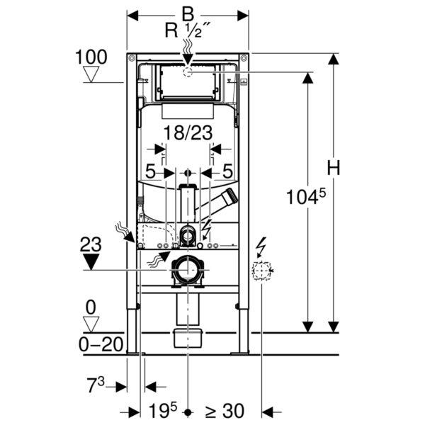 Geberit Duofix Element WC, 112 cm, <div> mit Sigma UP-Spülkasten, für Geruchsabsaugung mit Abluft