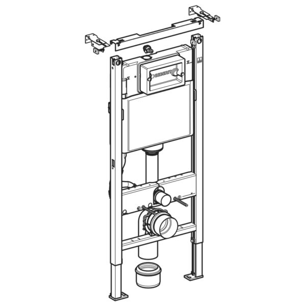 Geberit Duofix WC-Element mit Geberit UP-Spülkasten Delta, für den Trockenbau mit Ceravid Wand-WC Tiefspüler + WC-Sitz + Betätigungsplatte Geberit Delta50 + Schallschutzmatte
