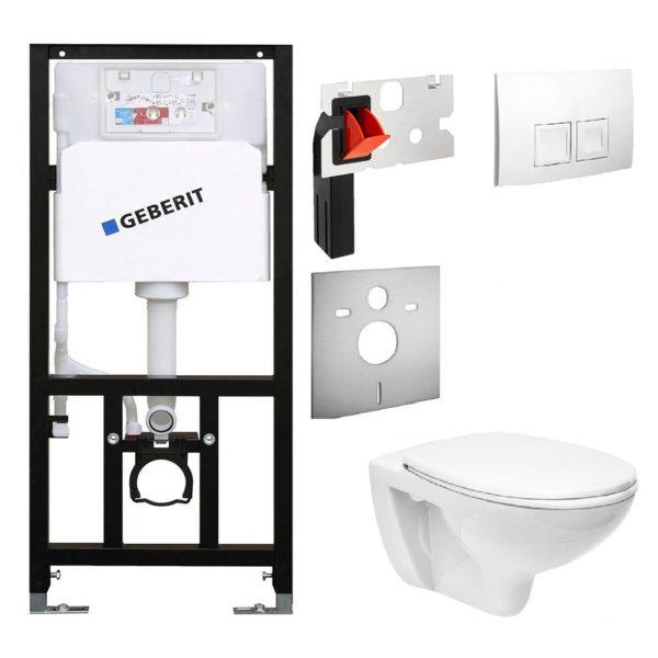 SANwand WC-Element mit Geberit UP-Spülkasten Delta, <br>+ Wand WC Ceravid + Betätigungsplatte Delta50 + Schallschutzmatte + Einwurfschacht