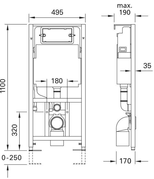 SANwand Vorwand-Set WC- und Waschtisch-Element für den Trockenbau