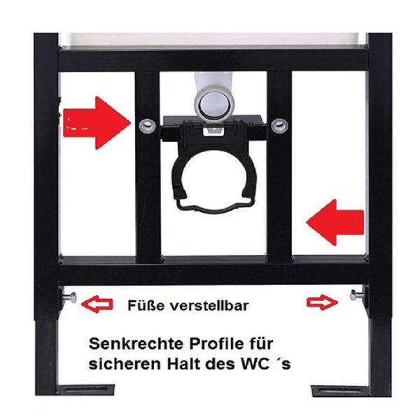 SANwand WC-Element mit Geberit UP-Spülkasten Delta + Wand WC spülrandlos + WC-Sitz + Betätigungsplatte Geberit Delta50 + Schallschutzmatte