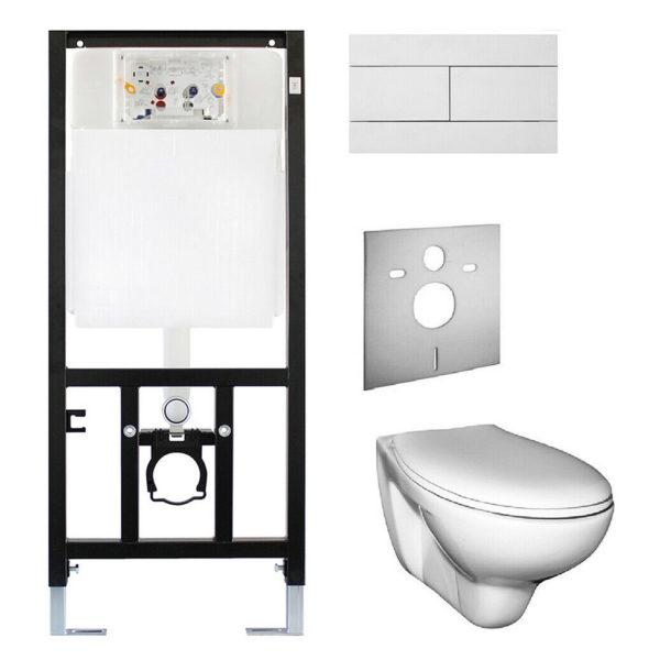 SANwand WC-Element mit UP-Spülkasten Oli + WC-Keramik + WC-Sitz + Design-Betätigungsplatte + Schallschutzmatte