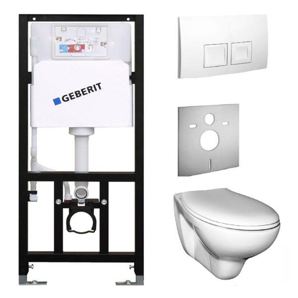SANwand WC-Element mit Geberit UP-Spülkasten Delta + Wand WC + WC-Sitz + Betätigungsplatte Geberit Delta50 + Schallschutzmatte