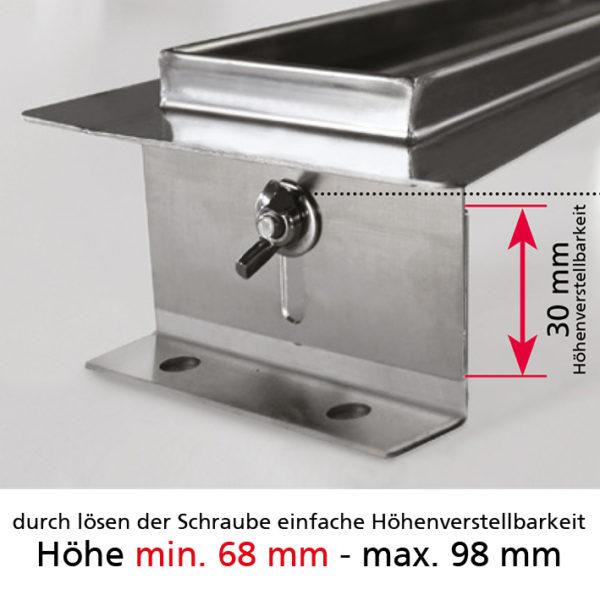 Duschrinnen-Set komplett aus Edelstahl von 300 - 1000 mm Länge mit Edelstahlabdeckung