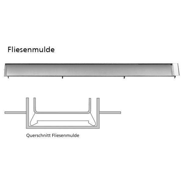 Duschrinnen-Set komplett aus Edelstahl von 300 - 1000 mm Länge mit Fliesenmulde