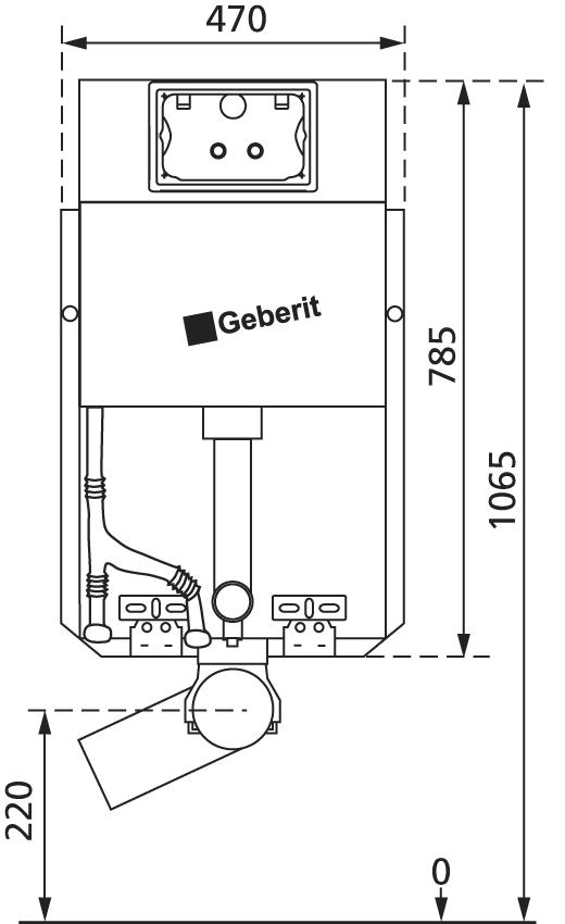 WC Vorwandelement für den Nassausbau mit Geberit UP-Spülkasten Delta, zum Einmauern