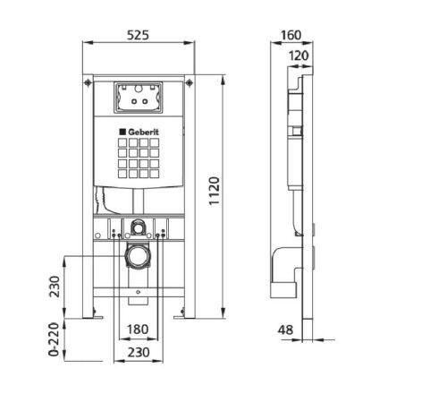 Burda Montageelement WC mit Geberit UP-Spülkasten Delta, schallentkoppelt