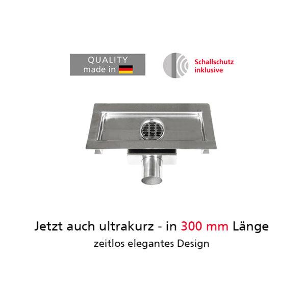 Duschrinnen-Set mit Sekundärentwässerung komplett aus Edelstahl von 300 - 1000 mm Länge