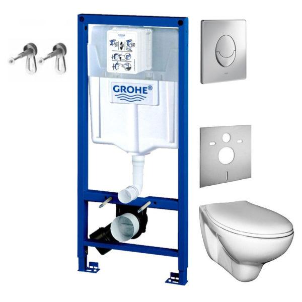 Grohe Rapid SL Vorwandelement + Wand-WC + WC-Sitz Basic oder Premium + Grohe Wandhalter + Grohe Betätigungsplatte Skate Air + Schallschutzmatte