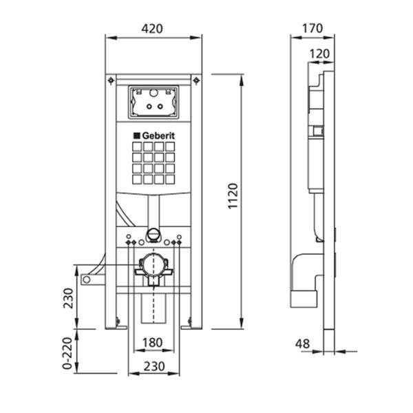 Burda Montageelement WC mit Geberit UP-Spülkasten Sigma, 42 cm breit, barrierefrei