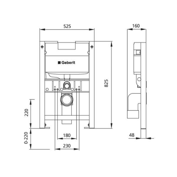 Burda Montageelement WC mit Geberit <br>UP-Spülkasten Omega, 82,5 cm, schallentkoppelt