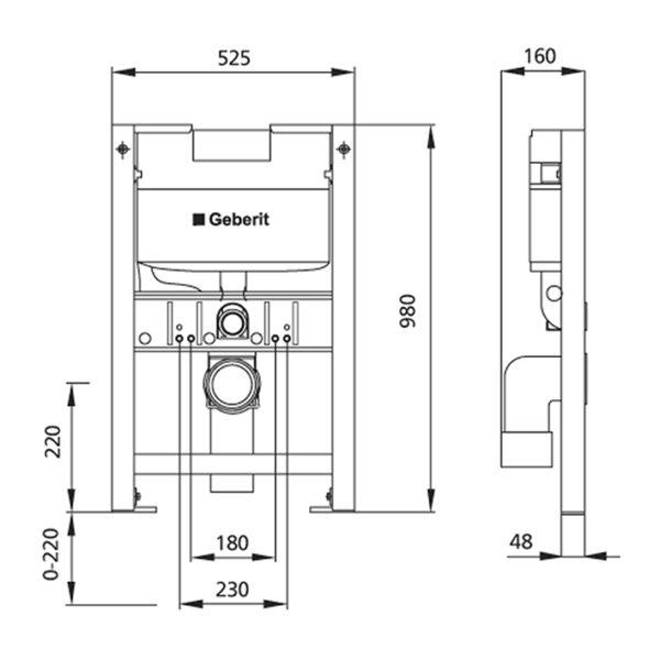 Burda Montageelement WC mit Geberit UP-Spülkasten Omega, 98 cm, schallentkoppelt