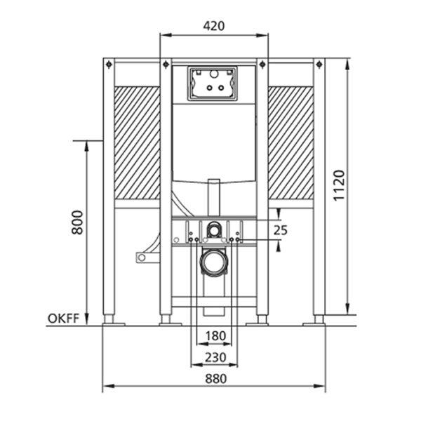 Burda Montageelement WC, 112 cm mit UP-Spülkasten Geberit Sigma, barrierefrei, für Stütz- und Haltegriffe links/rechts