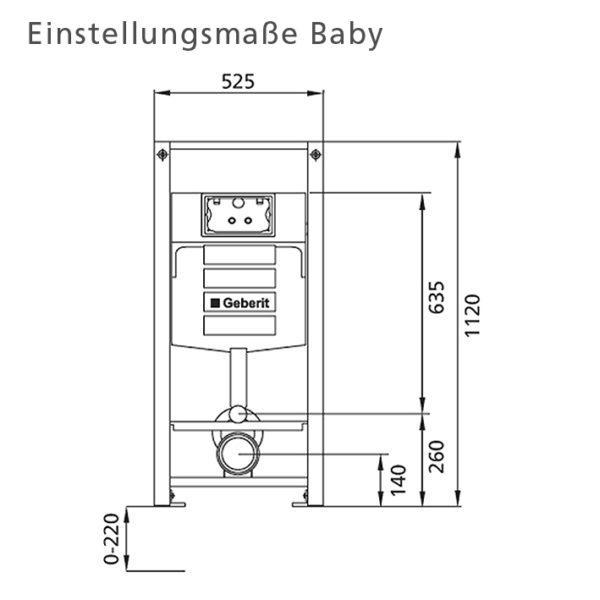 Burda Montageelment Baby/Kind/Erwachsene Stand-WC, 112 cm, mit Sigma UP-Spülkasten