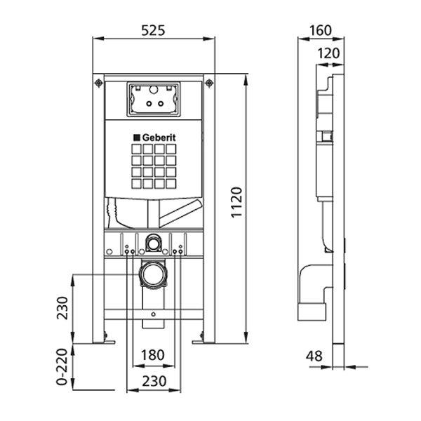 Burda Montageelement WC, 112 cm, mit Sigma <br>UP-Spülkasten, für Geruchsabsaugung <br>mit Abluft