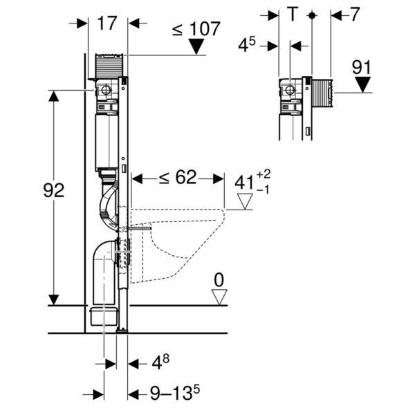 Geberit Duofix Element für Wand-WC, 98 cm, mit Omega UP-Spülkasten