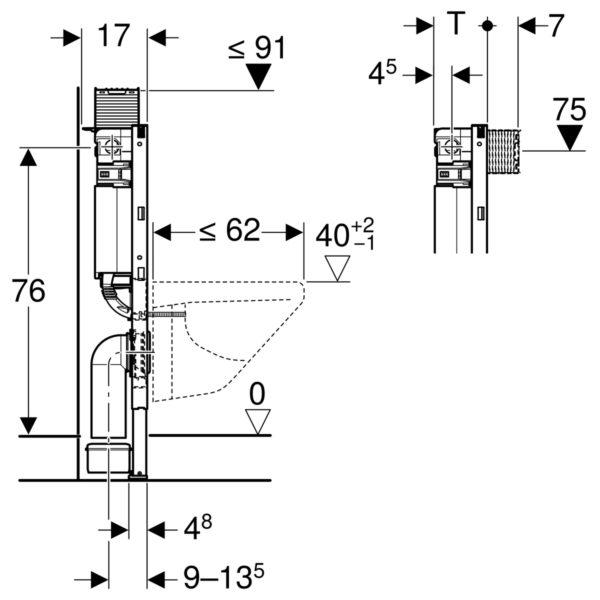 Geberit Duofix Element für Wand-WC, 82 cm, mit Omega UP-Spülkasten