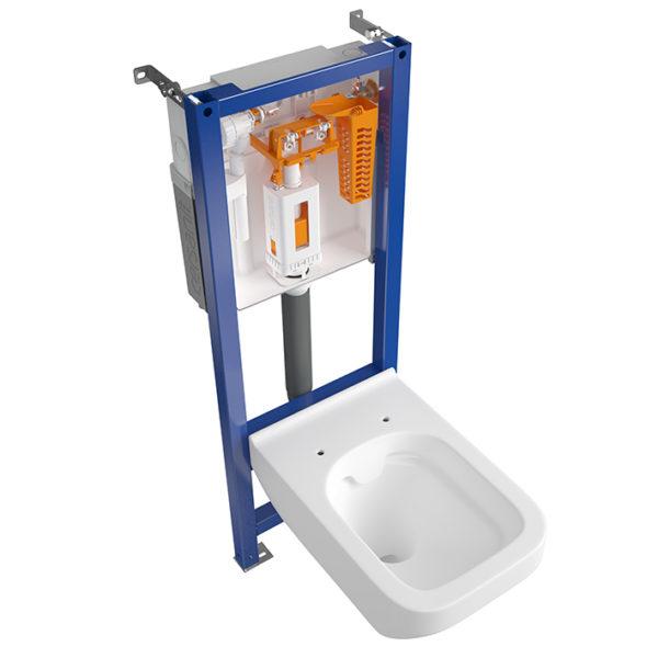 SANwand WC-Element, <br>41 cm breit mit Fresh System + Wand WC spülrandlos + WC-Sitz + Betätigungsplatte + Schallschutzmatte