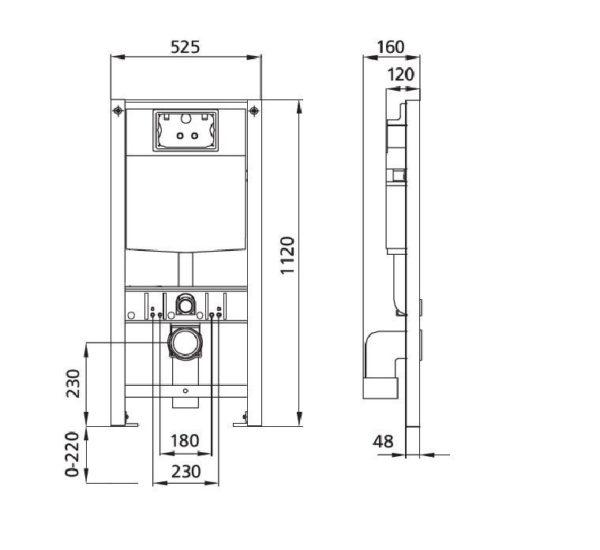 Burda Montageelement WC, 112 cm mit UP-Spülkasten Grohe GD2