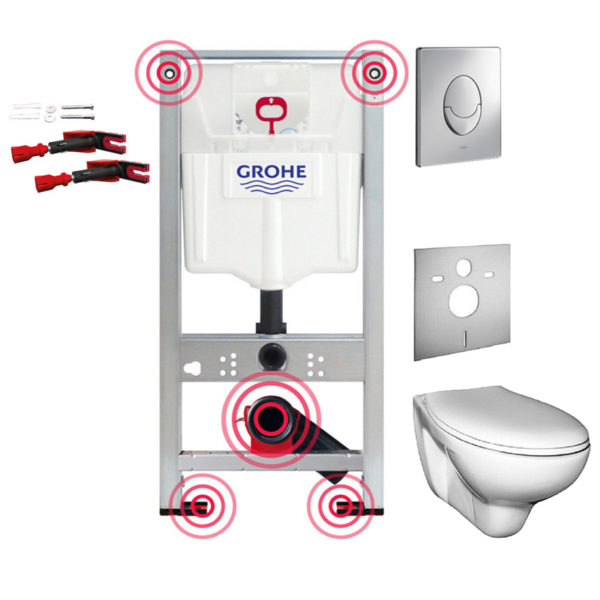Montageelement WC+ Wand-WC + WC-Sitz Basic oder Premium + Premium-Wandhalter + Grohe Betätigungsplatte Skate Air + Schallschutzmatte