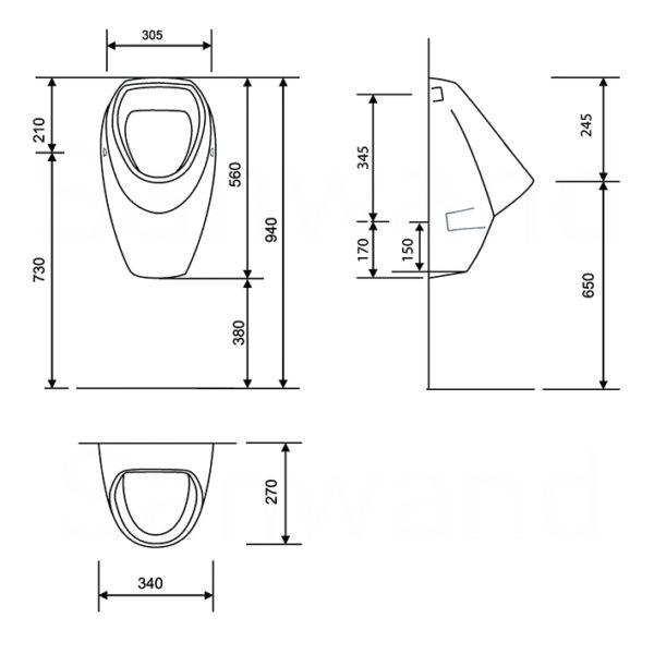 Burda Montageelement Urinal inkl. Flowtronik Siphonsteuerung (über Android App einstellbar) + Urinal Keramik