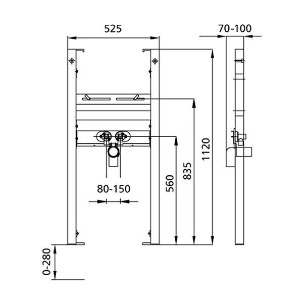 Burda Montageelement Waschtisch <br>für Standarmatur für Befestigung mit Gewindestangen