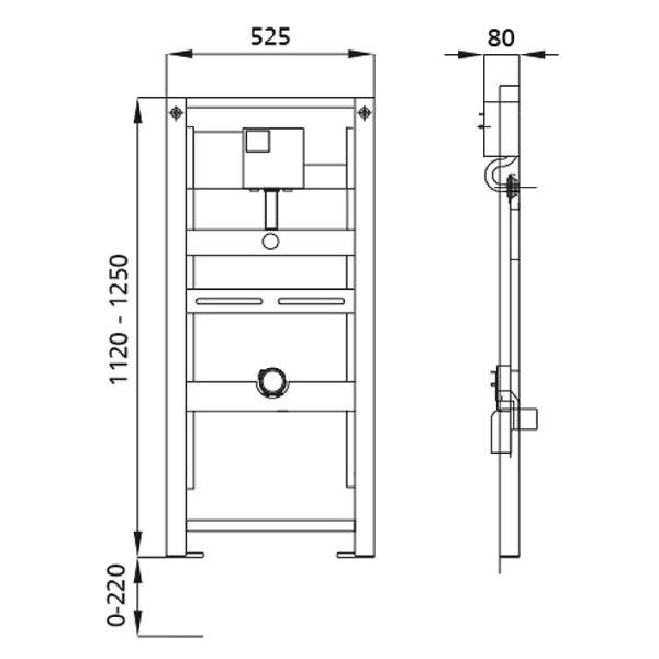 Burda Montageelement Urinal Universal mit Geberit Rohbauset Basic für den Trockenbau