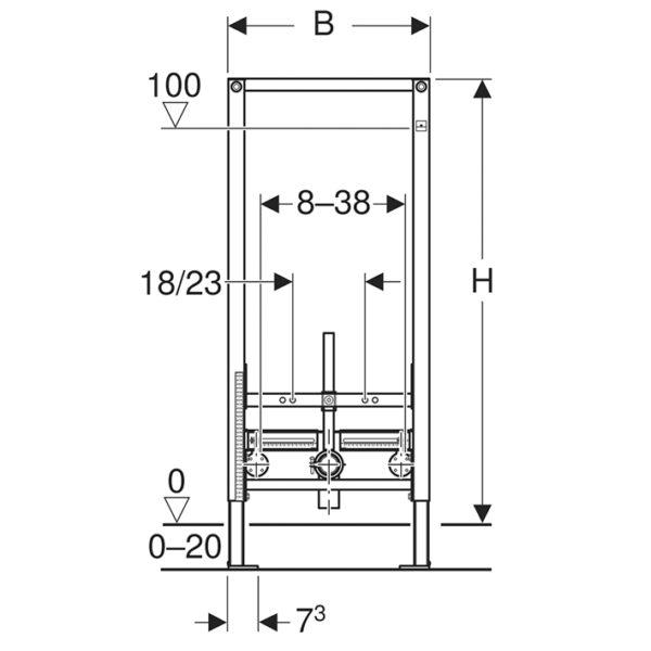 Geberit Duofix Element für Bidet, 112 cm, universell