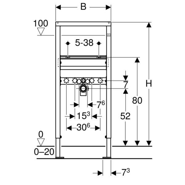 Geberit DuofixBasic Element für Waschtisch, 112 cm, Standarmatur