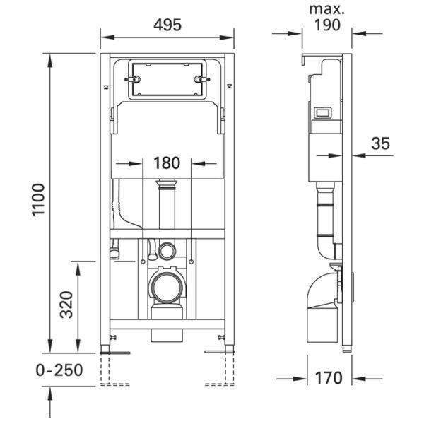 SANwand WC-Element mit Geberit <br> UP-Spülkasten Delta, für den Trockenbau