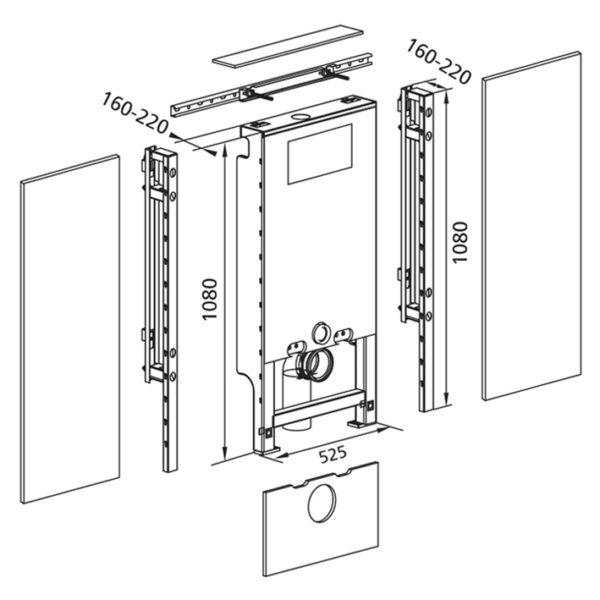 Santro WC Komplettbausatz vorbeplankt mit Geberit UP-Spülkasten Sigma