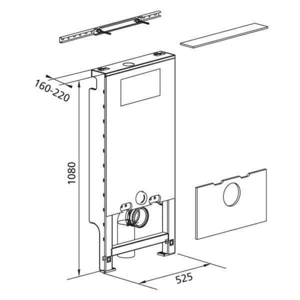 Santro Vorwandelement WC, vorbeplankt <br>mit Geberit <br>UP-Spülkasten Delta