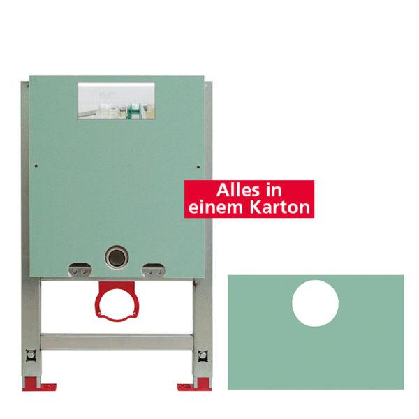 Santro Vorwandelement WC, vorbeplankt <br>mit Geberit <br>UP-Spülkasten Omega