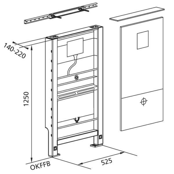 Santro Vorwandelement Urinal, vorbeplankt mit Geberit Rohbauset Basic