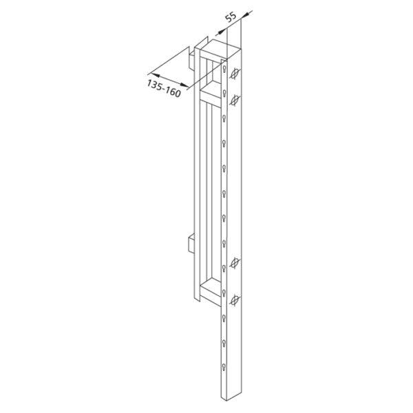 Santro Zwischenträger für Ablagentiefe <br>135-160 mm