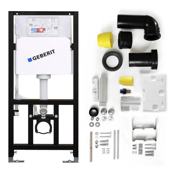 Geberit iCon Tiefspüler Rimfree WC-Set komplett inkl. Sanwand WC Vorwandelement mit <br>UP-Spülkasten Delta <br>+ Betätigungstaste <br>Delta51