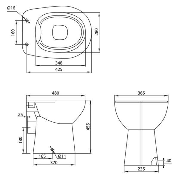 Stand-WC, 6 cm erhöht, Tiefspüler spülrandlos <br>46 cm hoch + Geberit Spülkasten + WC-Sitz