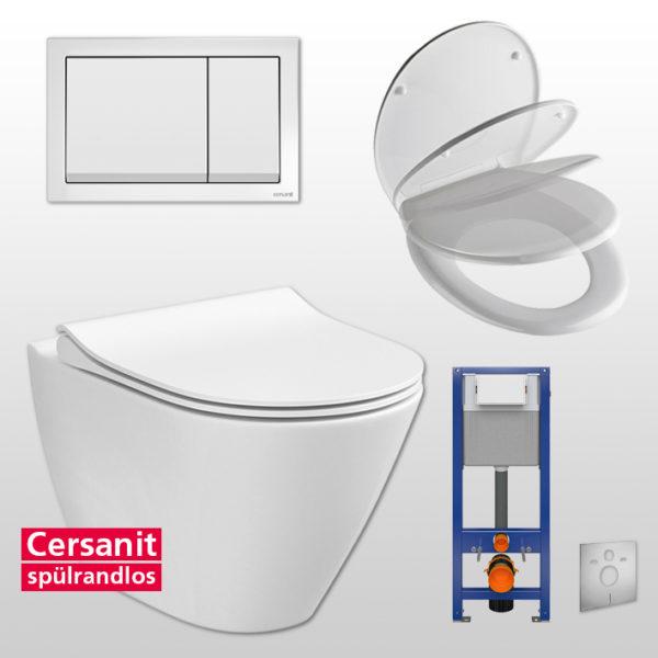 """Cersanit spülrandloses Wand WC-Set komplett inkl. Sanwand WC-Element 41 cm breit,<br>+ WC-Sitz """"City""""<br>+ Betätigungsplatte <br>+ Schallschutzmatte"""