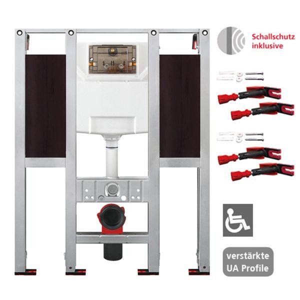 Burda Montageelement WC, 112 cm mit UP-Spülkasten Burda K770, barrierefrei, für Stütz- und Haltegriffe links/rechts