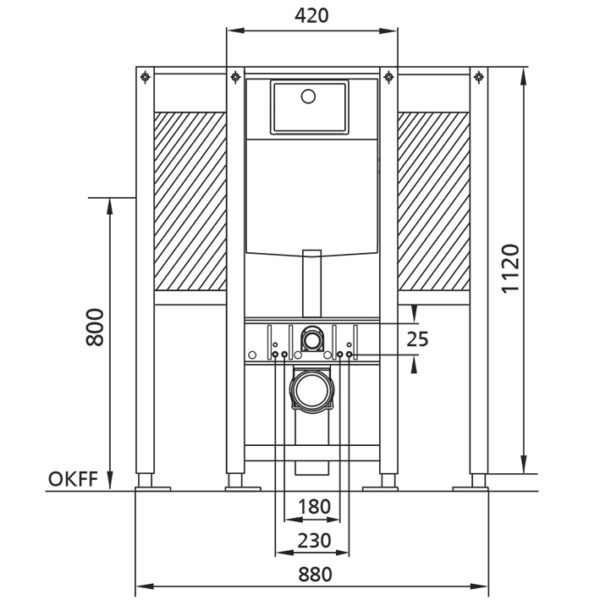 Burda Montageelement WC, 112 cm mit UP-Spülkasten Burda K770, barrierefrei, für Stütz- und Haltegriffe links/rechts <br>+ WC-Steuerung