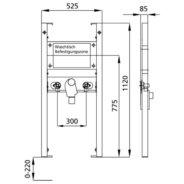 BS+ Waschtisch-Element für Standarmatur, barrierefreie Ausführung mit UP-Siphon