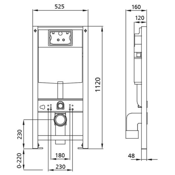 Burda Montageelement mit UP-Spülkasten Pur<br>+ Wand WC Tiefspüler <br>+ WC-Sitz <br>+ Betätigungsplatte<br>+ Schallschutzmatte