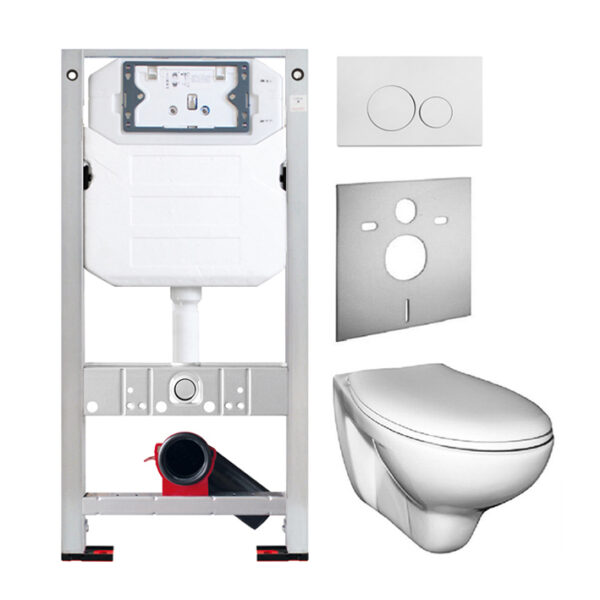 Burda Montageelement <br>mit UP-Spülkasten Pur<br>+ Wand WC Tiefspüler <br>+ WC-Sitz <br>+ Betätigungsplatte<br>+ Schallschutzmatte