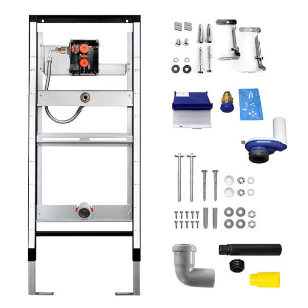 SANwand Urinal-Element mit Burda Rohbauset R10 + Urinalsteuerung Infrarot, Netzbetrieb 230V, Edelstahl <br>+ Urinal Keramik
